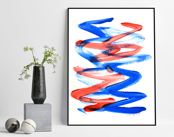 original blue and red abstract painting for sale online