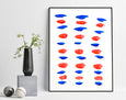minimalist blue and red abstract art for sale online