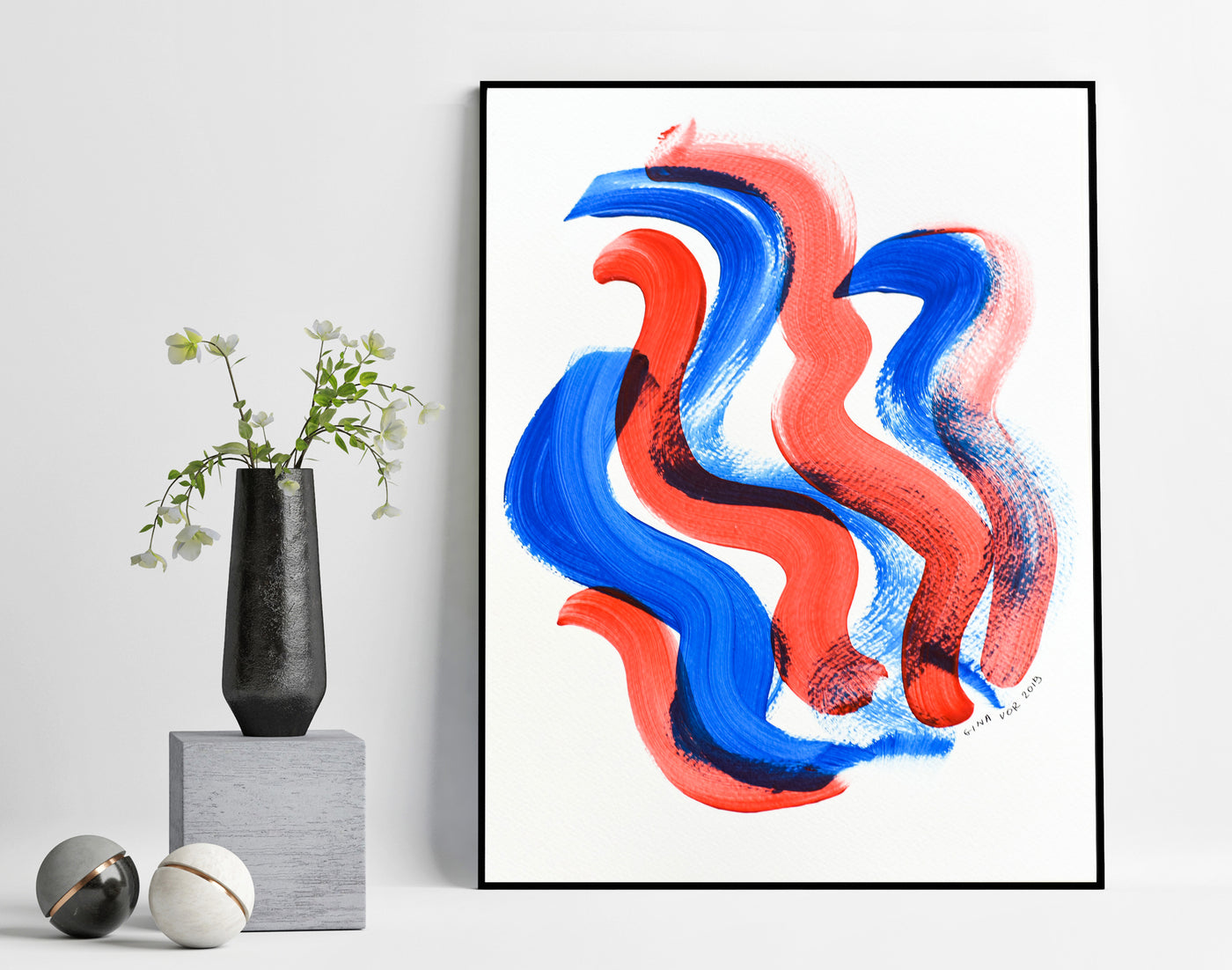 Minimalist abstract wall art - blue and red painting on paper for sale online