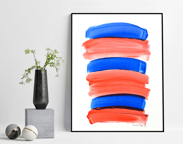 Blue and red minimalist abstract painting for sale online