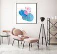 printable abstract wall art in blue and pink