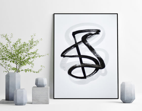 Modern black and white abstract painting