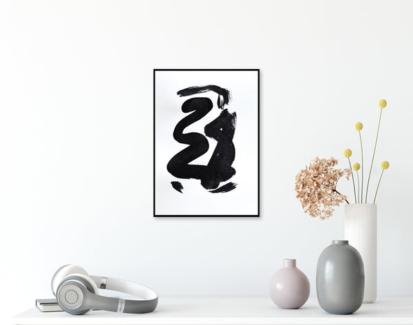 Original black and white abstract art