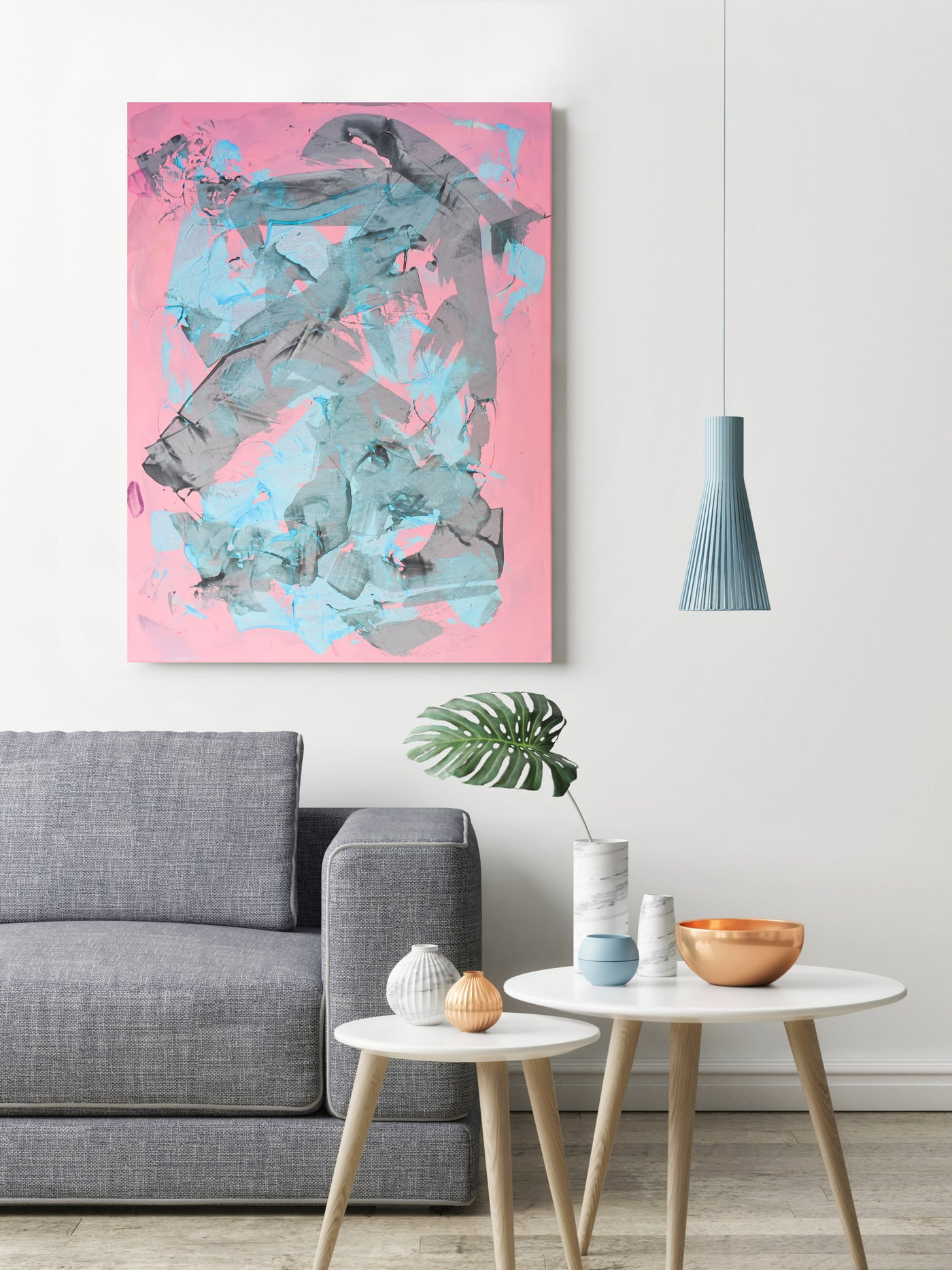 Pink abstract painting for sale