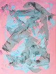 Pink, grey, azure abstract artwork
