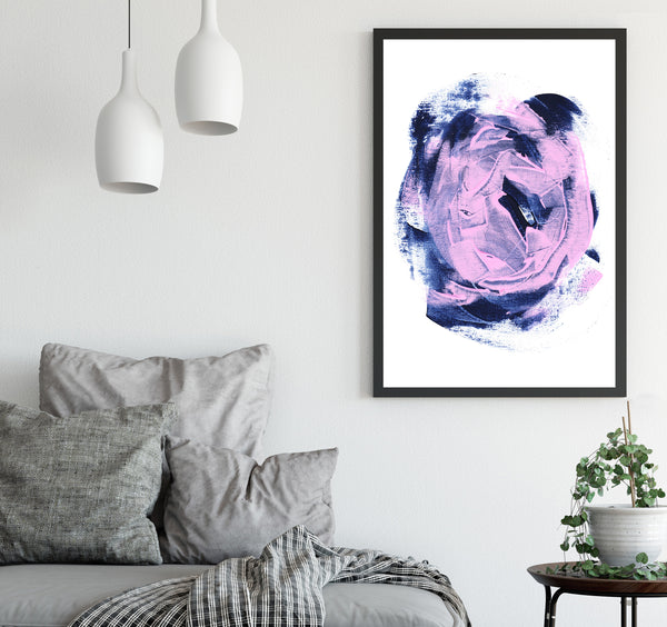 Printable painting abstract art in pink and navy