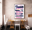 large wall printable pink and navy blue digital artwork