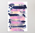 Printable abstract painting in pink and navy blue