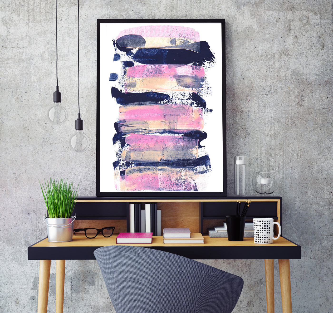 Printable wall art pink and navy blue