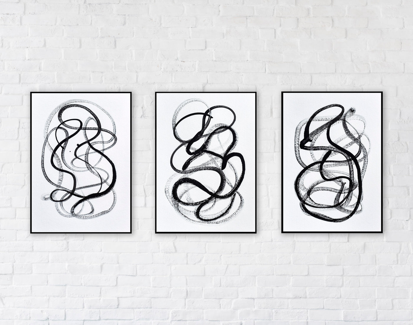 Set of three abstract line drawings