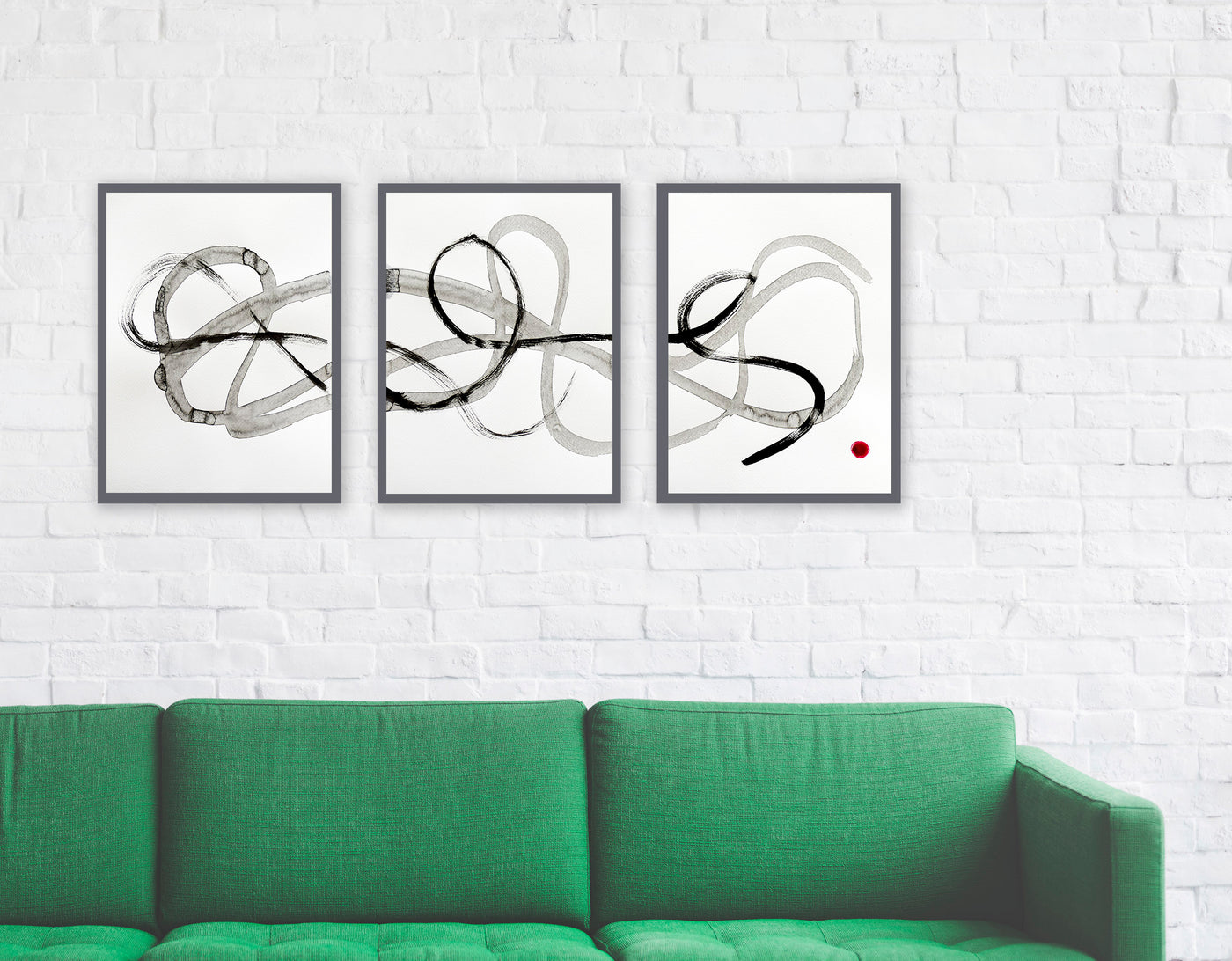 Set of three black and white abstract paintings