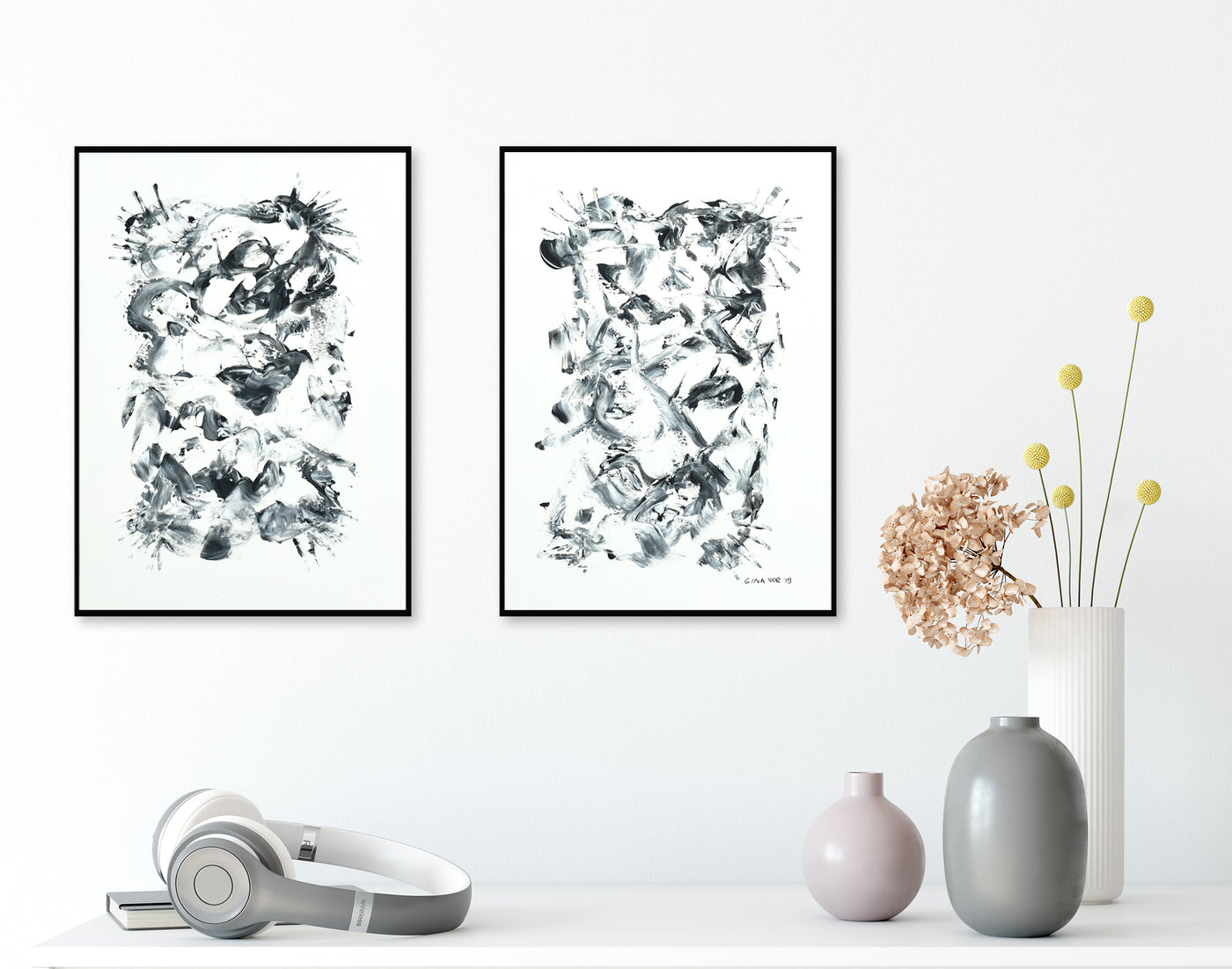 Set of two black and white abstract paintings