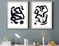 Set of two black and white abstract paintings for sale