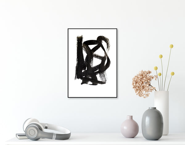 Black Abstract Art - Ink Drawing for Sale