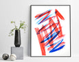 minimalist blue and red painting for sale online