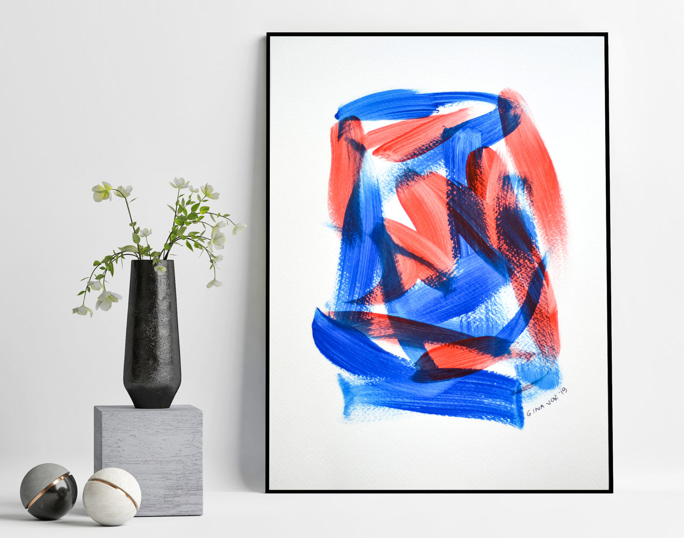 Abstract expressionism art - blue and red painting for sale online