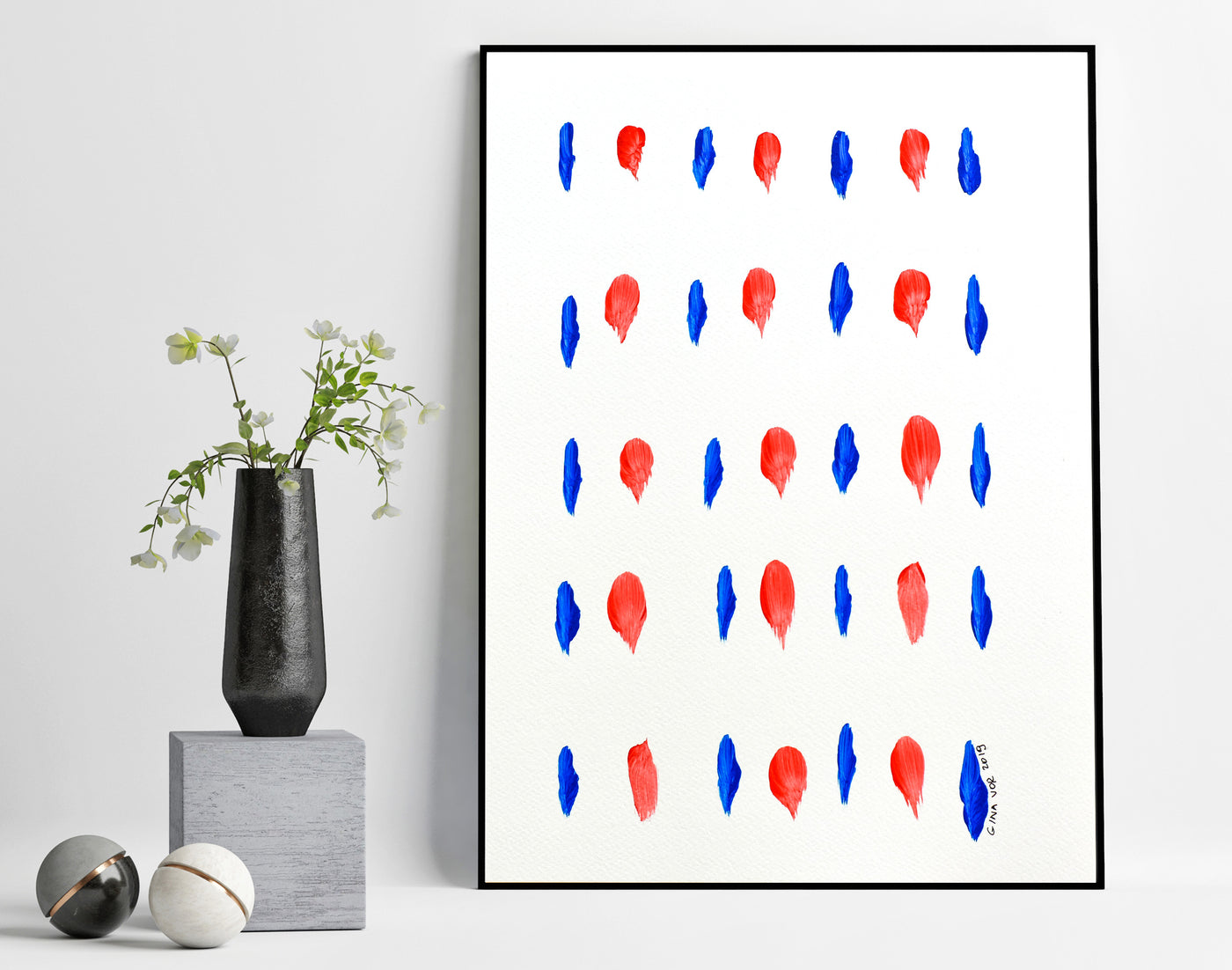 minimalist blue and red abstract painting for sale online