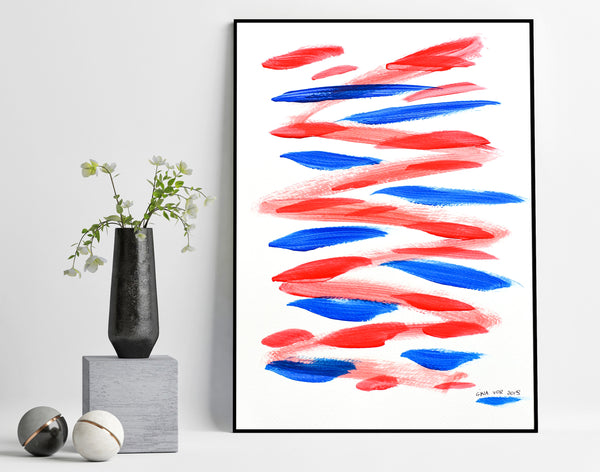 original affordable blue and red abstract painting for sale