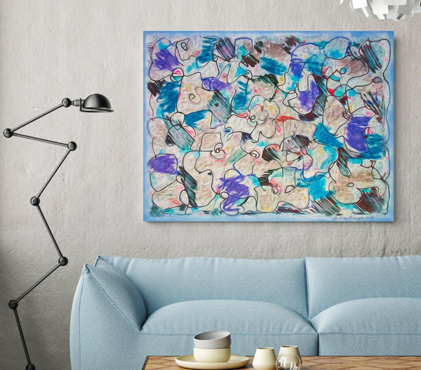 Digital abstract artwork in contemporary interior