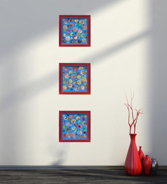 Abstract triptych in interior