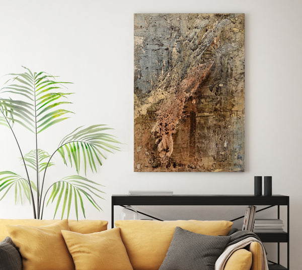Textured abstract painting in interior