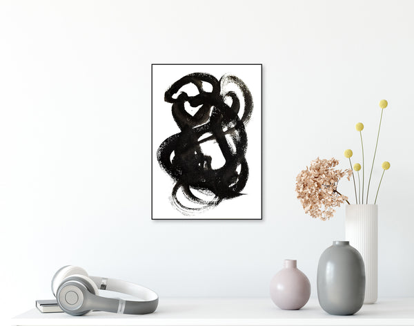 Black abstract ink art on paper for sale
