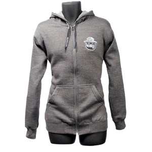 Smokeyz Ladies Front Zipper Pull over Hoodie with Kangaroo Pocket - Grey