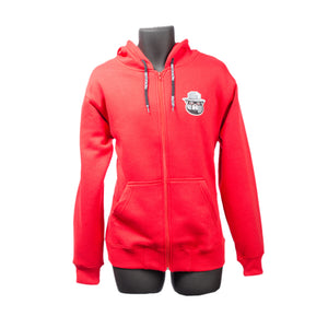 Smokeyz Ladies Front Zipper Full Sleeve Pull over Hoodie w Kangaroo Pocket - Red