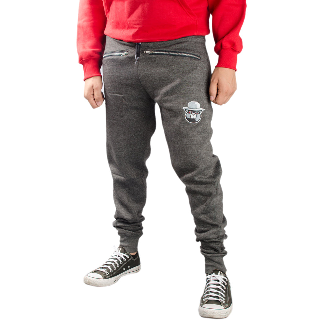 Smokeyz Men's High-waisted Joggers with Zipper Pocket on Each Leg - Grey