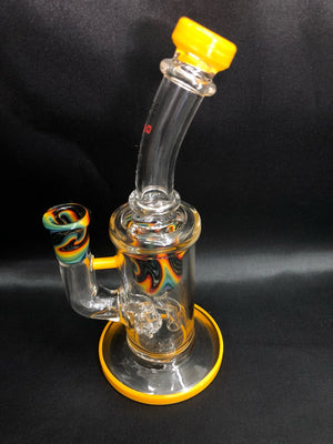 UV Light Smoke Glass Gridded Puck Bubbler with Colored Accents - Yellow