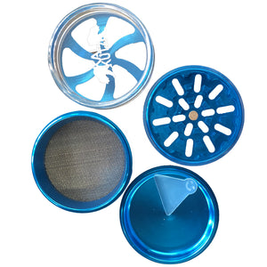 6Pcs Pack of 5 PC Blue Reversible Aluminum Chrome Chamber Metal Tobacco Herb Grinder Crusher