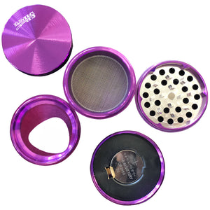 6 Pcs Pack Of Purple Viberating 55mm Metal Tobacco Herb Grinder Crusher
