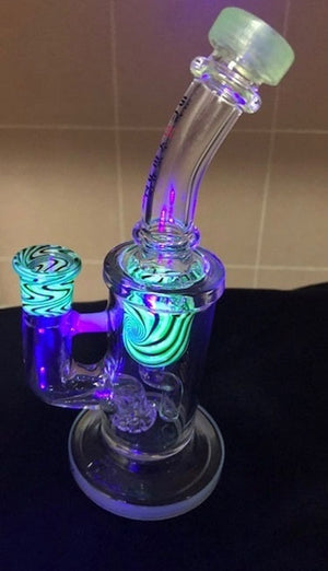 UV Light Smoke Glass Bubbler with Colored Accents Glow in Dark- Lime
