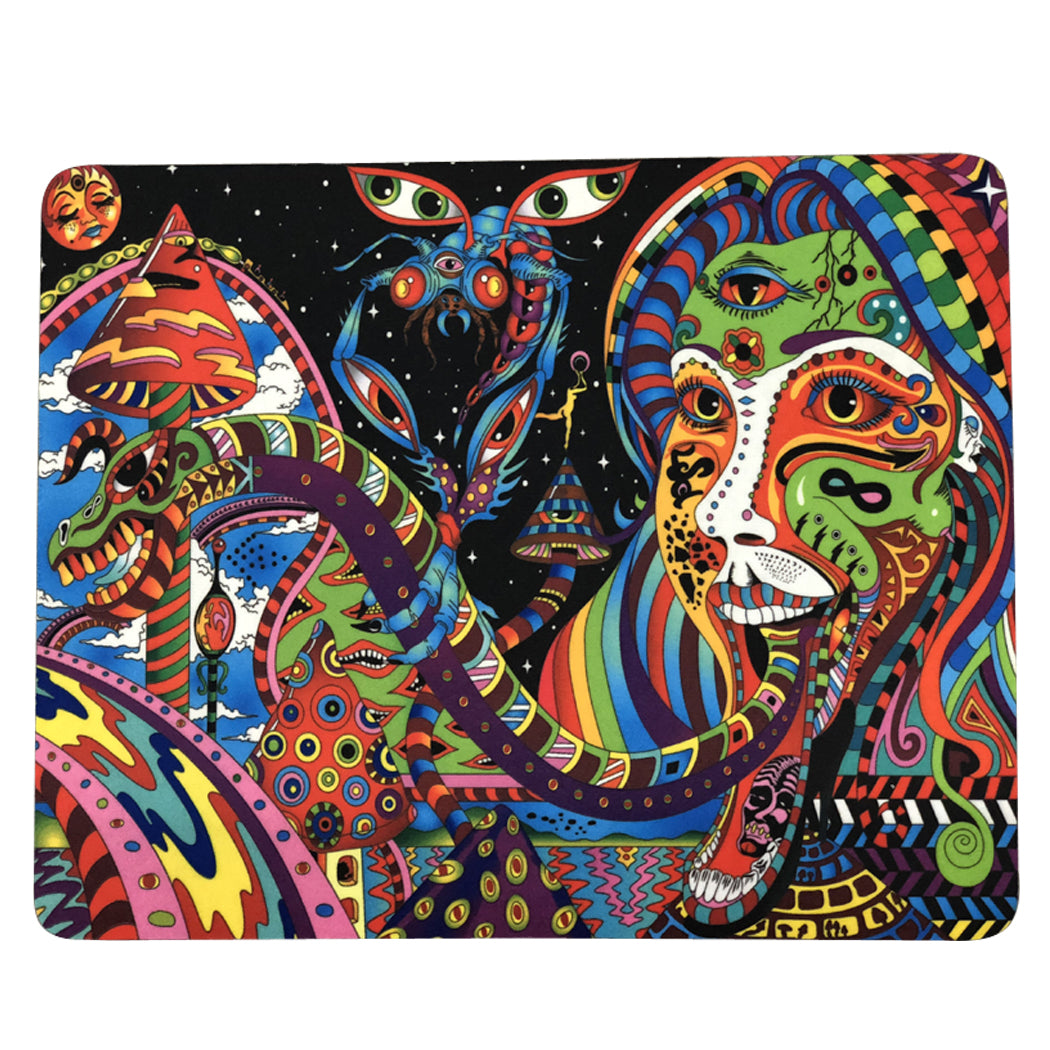 "12 Pcs Pack Of Dab Pads 8""x10"" Trippy Psychedelic Art Dragon Oil Absorbent Dabpad"