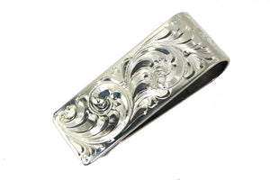 Hand Engraved Western Sterling Money Clip