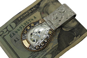 Engraved Horseshoe Hinged Western Money Clip by Vogt Silversmiths