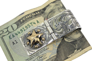 Hand Engraved Hinged Western Money Clip with Golf Fill Star