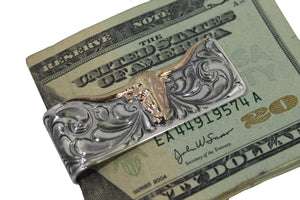 Hand Engraved Sterling Money Clip with Gold Fill Longhorn Silhouette