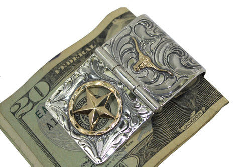 Engraved Western Money Clip with Gold Star and Longhorn by Vogt Silversmiths