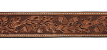 "Russet Acorn and Oakleaf Western 1 1/2"" Leather Belt"