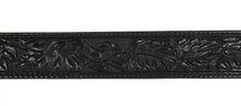 "Black Floral Tooled 1 1/2"" Leather Belt"