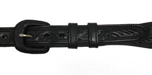 "Black Floral Tooled 1"" Leather Belt"