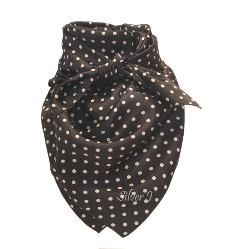 Black and White Polka Dot Silk Wild Rag