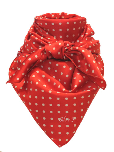Red and White Polka Dot Silk Wild Rag