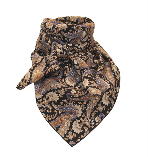 Wild Rag Paisley Silk Tan and Black