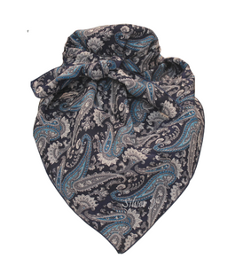 Wild Rag Paisley Silk Navy and Blue