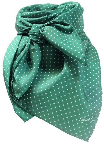 Forest Green Polka Dot Silk Wild Rag