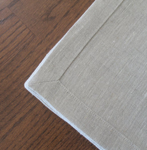 Natural Linen Napkins with Mitered Corners ~ Set of 4