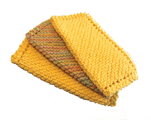Knitted Dish Cloth ~ Multi-Yellow