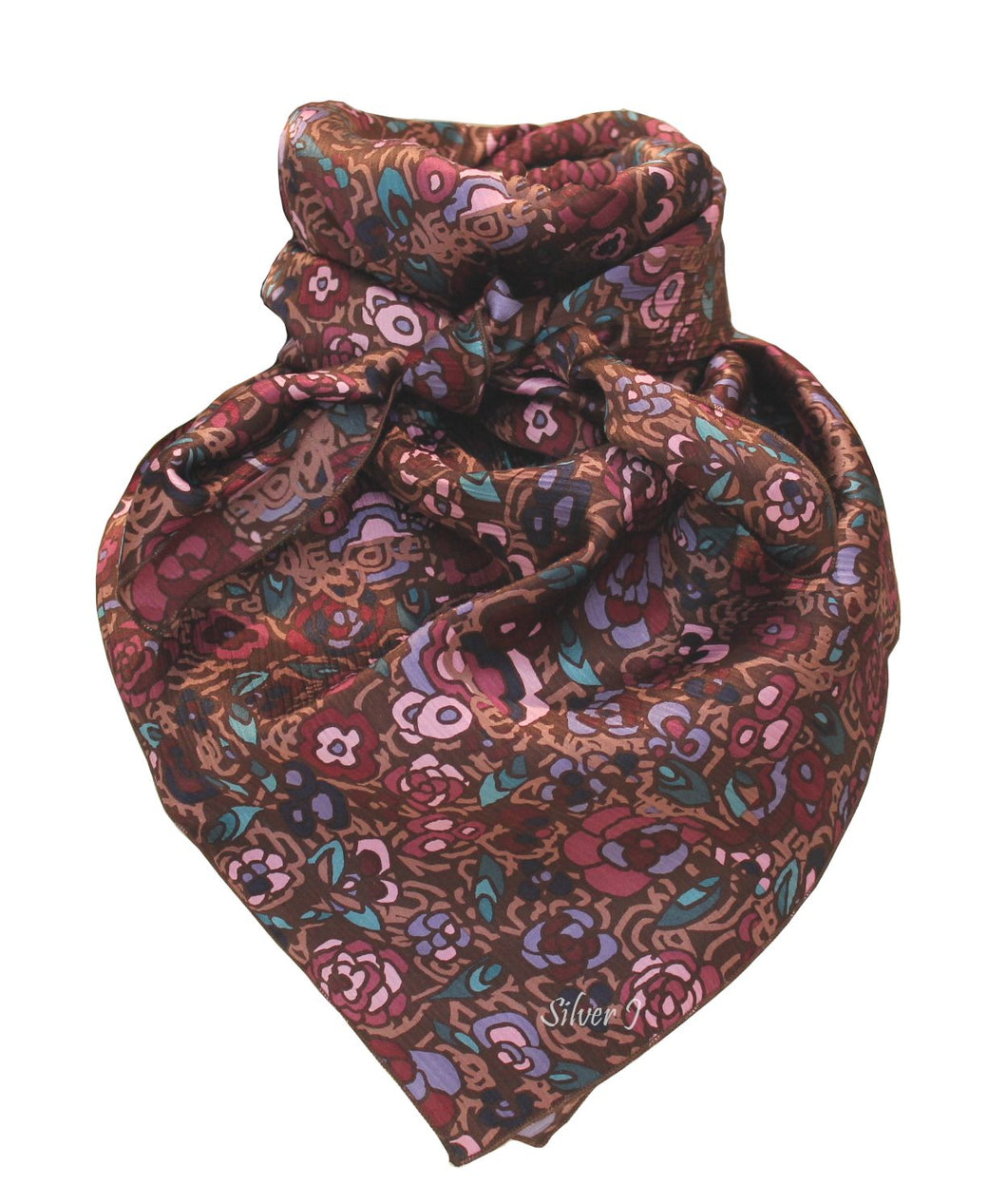 Plum and Brown Floral Silk Wild Rag